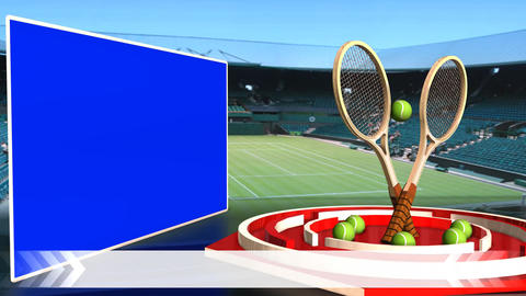 Tennis News Update Television Broadcast Sports Program White Line Footage