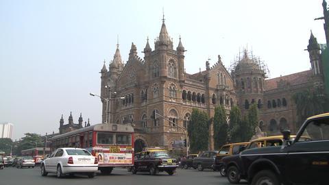 Indian Crowded Street & Traffic In Mumbai stock footage