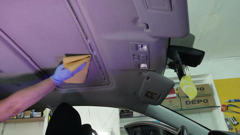Car service station: wet cleaning of the car (dry cleaning) Live Action