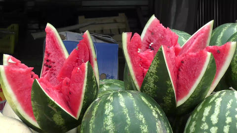 Watermelon and melon sold at the Bazaar Footage
