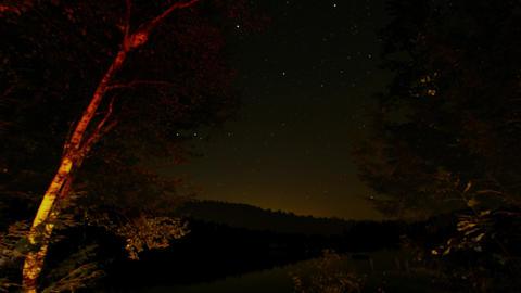 4K Night Sky Lake Reflection With Stars Timelapse stock footage