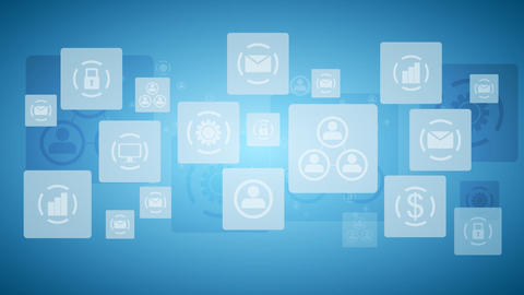Abstract twinkling icons, communication tech design video animation Animation