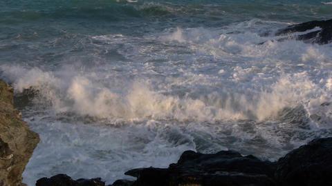 waves on the rocks Footage