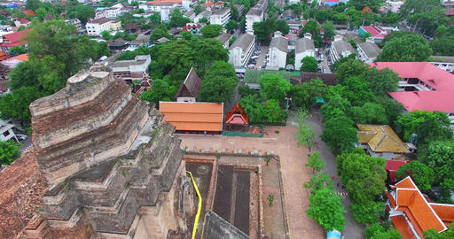 aerial side dolly of Wat Chedi Luang temple Footage