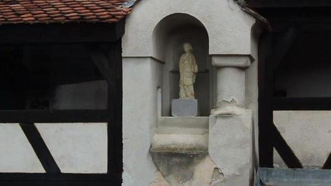 Romania. Bran. Dracula Castle. Statue stock footage