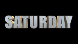 3D Metal Gold Text Saturday + Alpha stock footage