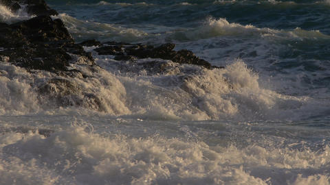 waves on the rocks Stock Video Footage
