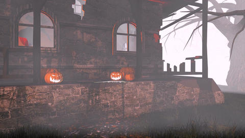 Jack-o-lanterns on the porch of scary house Footage