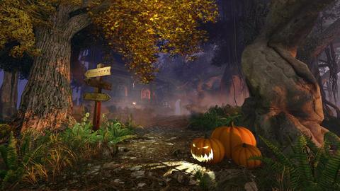Jack-o-lanterns and Haunted House Footage