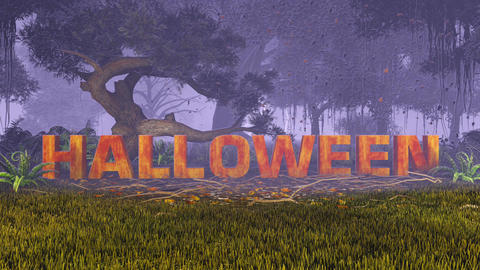 Halloween text drop from the sky to a night forest Animation