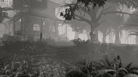 Spooky house and ghosts. Monochrome Footage