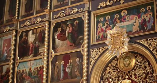 Cathedral. Chernivtsi, Ukraine. Icons Footage