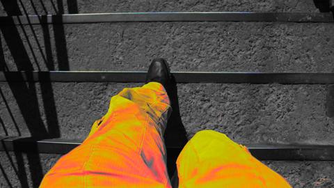Orange Feet And Walking Stairs stock footage