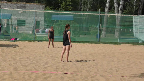 Girl Playing Beach Volleyball stock footage