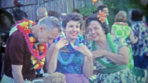 1963: Hawaiian luau summer pool party trendy at the time Footage