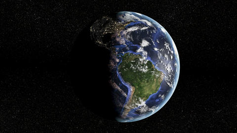 Earth Spinning from Day to Night Animation