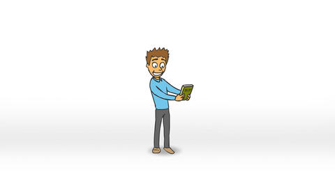 Funny Character Rejoices Buying a New Book (Color) Animation