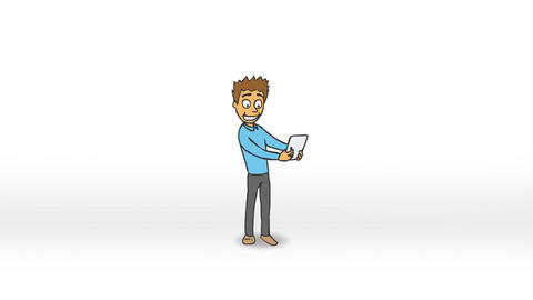 Funny Character Rejoices Buying a New Tablet (Color) Animation