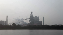 Smoke At Iron Factory In South Korea stock footage