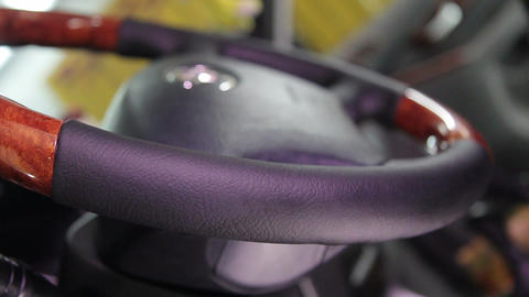 Service and repair: the result of renovation of the skin-covered steering wheel Footage