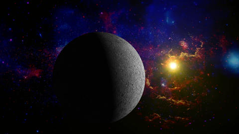 Moon in the space without lens objects Animation