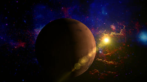 Planet Mars rotating in space with lens objects Animation