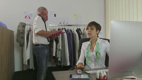 Career Success Teamwork Man And Woman In Fashion Clothes Office Live Action
