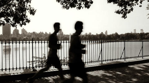 People walking and jogging Footage