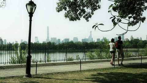 Promenade In Central Park, New York stock footage