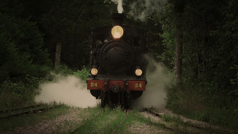 Vintage Steam Locomotive Passing By stock footage