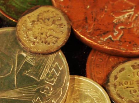 Coins Background Loop stock footage