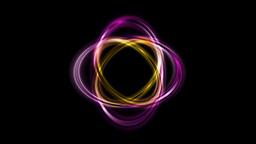 Abstract bright ellipse shape logo rotation on black Animation
