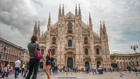 People walking in front of Duomo Cathedral Footage