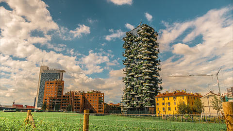 Milano Vertical Forest Is A Pair Of Residential Towers In The District Of Milan, stock footage