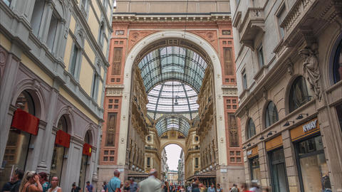 Shopping area near the prestigious Galleria Vittorio Emanuele II Footage