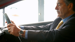 Smiling businessman sitting in a car Live Action