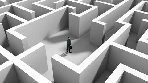 Businessman standing in middle of maze Animation