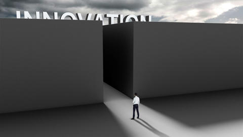 Businessman at entrance of maze Animation