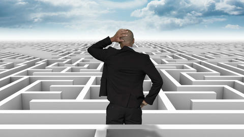 Businessman in a difficult maze Animation