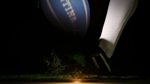 Player kicking argentina rugby ball Animation