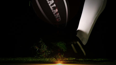 Player kicking new zealand rugby ball Animation