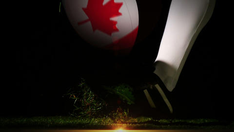 Player kicking canada rugby ball Animation