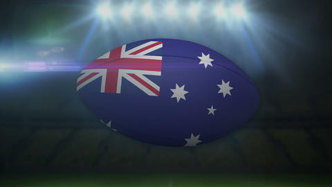 Australia rugby ball in stadium with flashing lights Animation