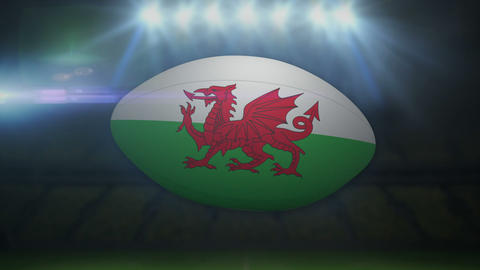 Wales rugby ball in stadium with flashing lights Animation