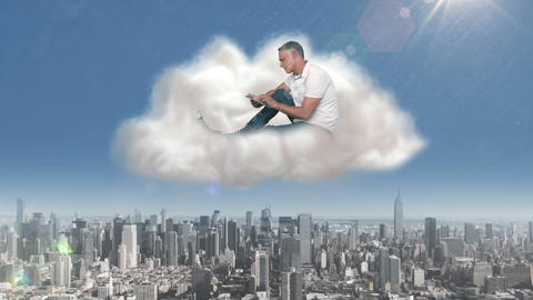 Casual man using tablet in cloud over city Animation
