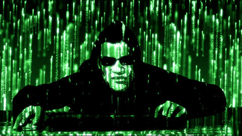 Hacker with glowing green code Animation