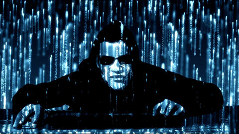 Hacker with glowing blue code Animation