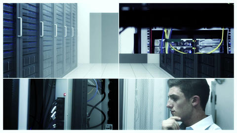 Data center concept with workers Animation