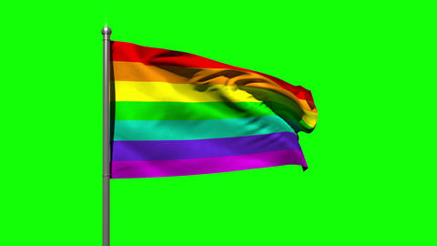 Rainbow flag blowing against green screen Animation