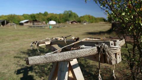 Exhibit of ancient wooden crossbow Image